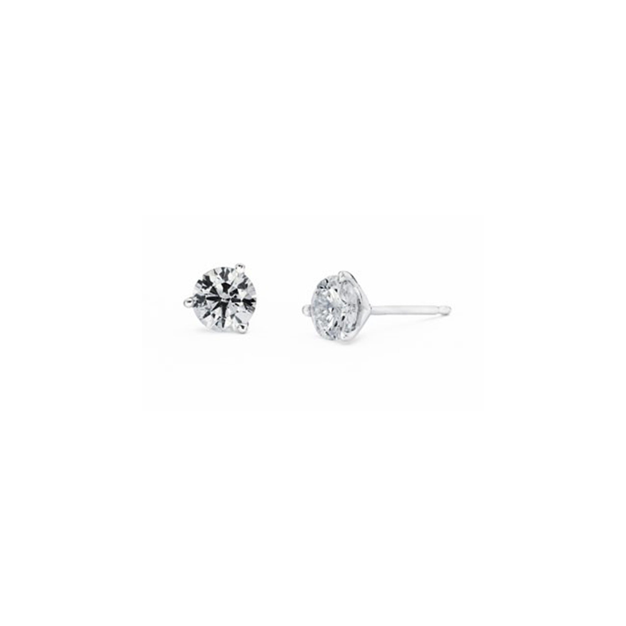 Diamond Stud 3-Prong Earrings, 0.25 Carat Total Weight in 14k White, Yellow or Rose Gold - Talisman Collection Fine Jewelers