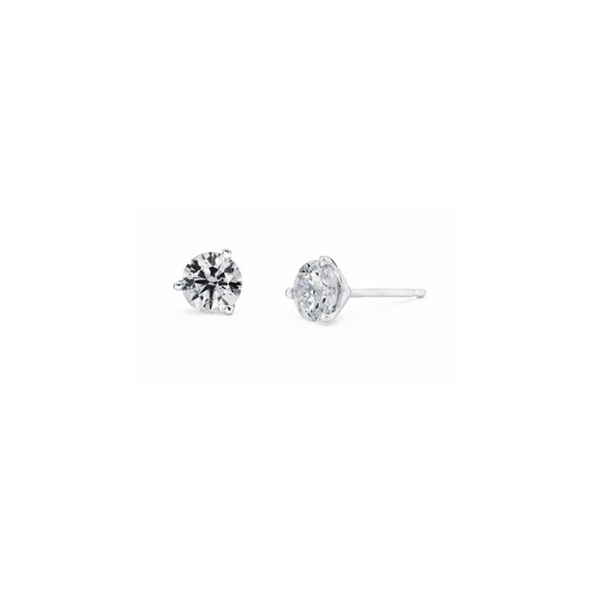 Diamond Stud 3-Prong Earrings, 0.25 Carat Total Weight in 14k White, Yellow or Rose Gold