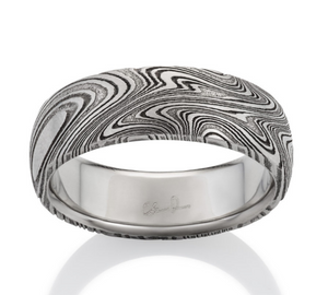 Kona Oxidized Damascus Steel Ring by Chris Ploof - Talisman Collection Fine Jewelers