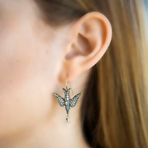 18k Yellow Gold Bird Earrings with Diamond Drops by Lord Jewelry - Talisman Collection Fine Jewelers
