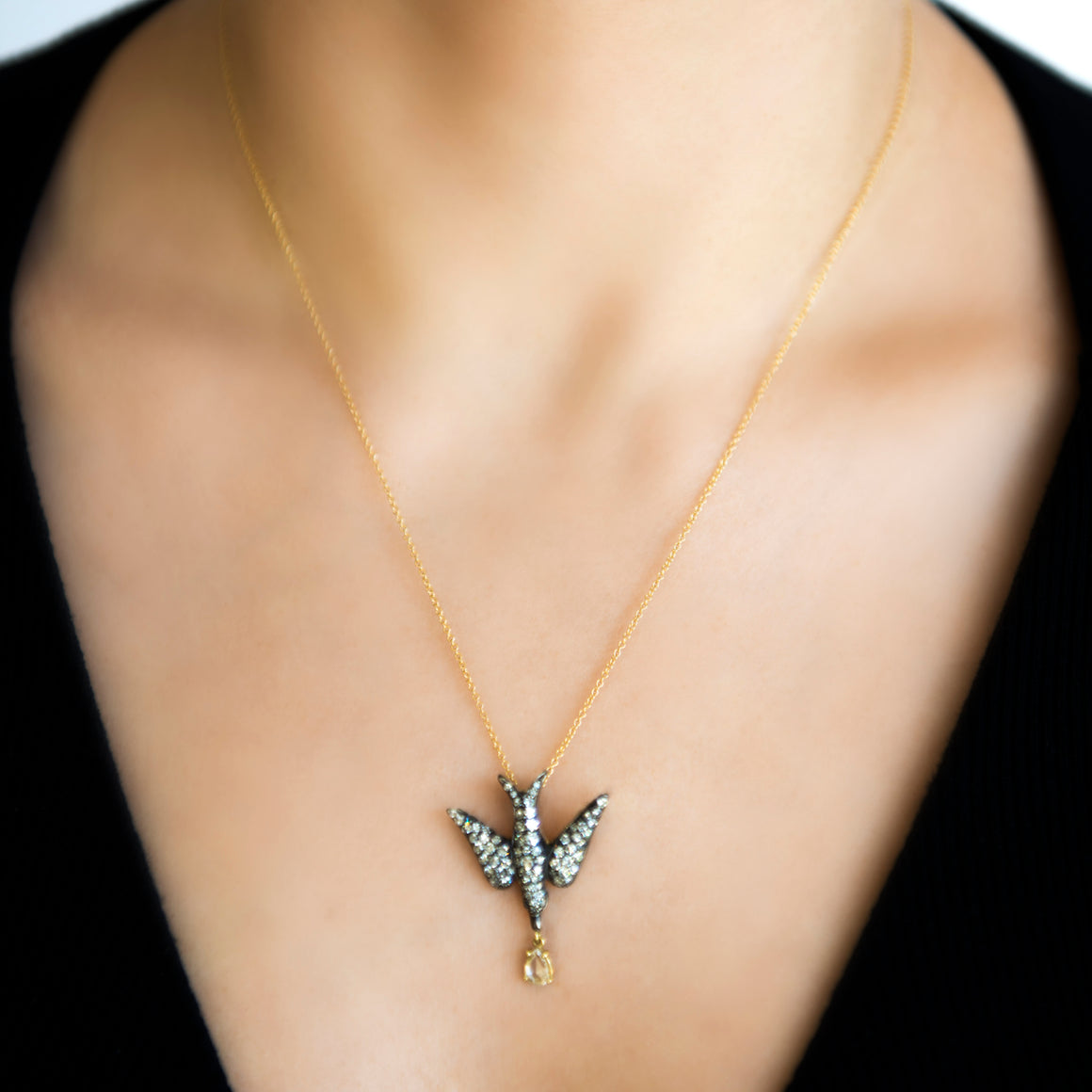 18k Yellow Gold Diamond Bird Pendant by Lord Jewelry - Talisman Collection Fine Jewelers