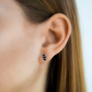 Mixed Cut Blue Sapphire Ear Climber and Stud by Borgioni - Talisman Collection Fine Jewelers