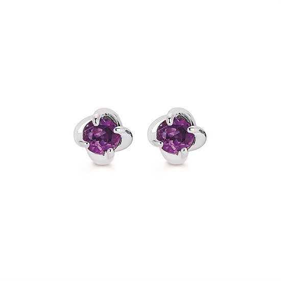 14k Gold Twist Amethyst Stud Earrings