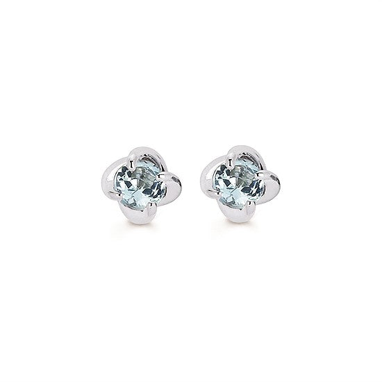 Aquamarine Twist Stud Earrings in White Gold - Talisman Collection Fine Jewelers