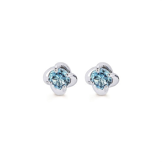 Blue Topaz Twist Stud Earrings in White Gold - Talisman Collection Fine Jewelers