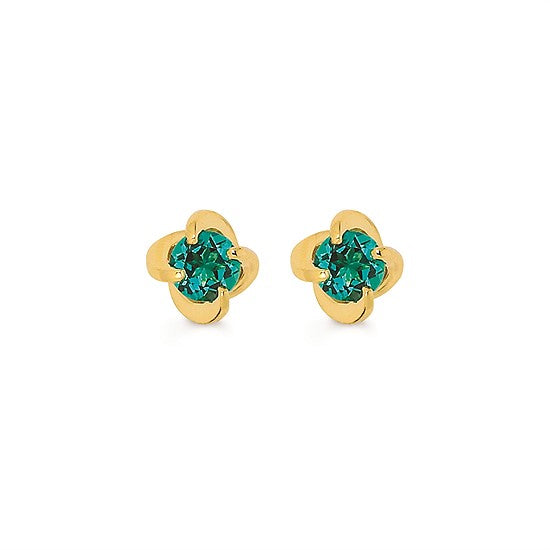 14k Gold Twist Emerald Stud Earrings