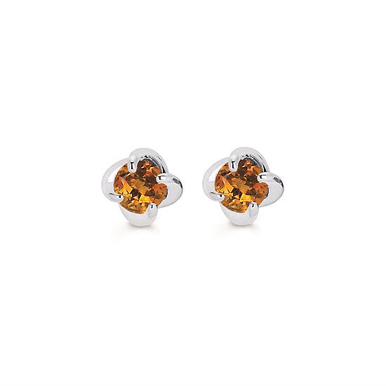 14k Gold Twist Citrine Stud Earrings