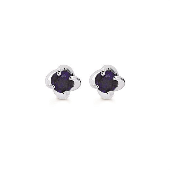 Sapphire Twist Stud Earrings in White Gold - Talisman Collection Fine Jewelers