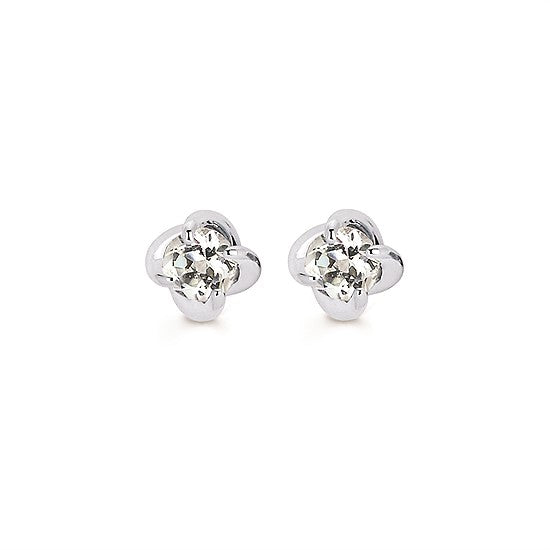 White Sapphire Twist Stud Earrings in White Gold - Talisman Collection Fine Jewelers