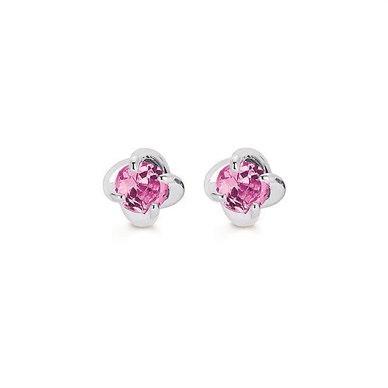 Pink Tourmaline Twist Stud Earrings in White Gold - Talisman Collection Fine Jewelers