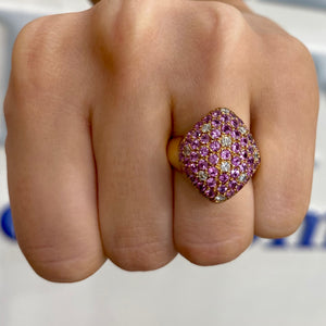 Pink Sapphire and Diamond Dome Ring by Gemma Couture