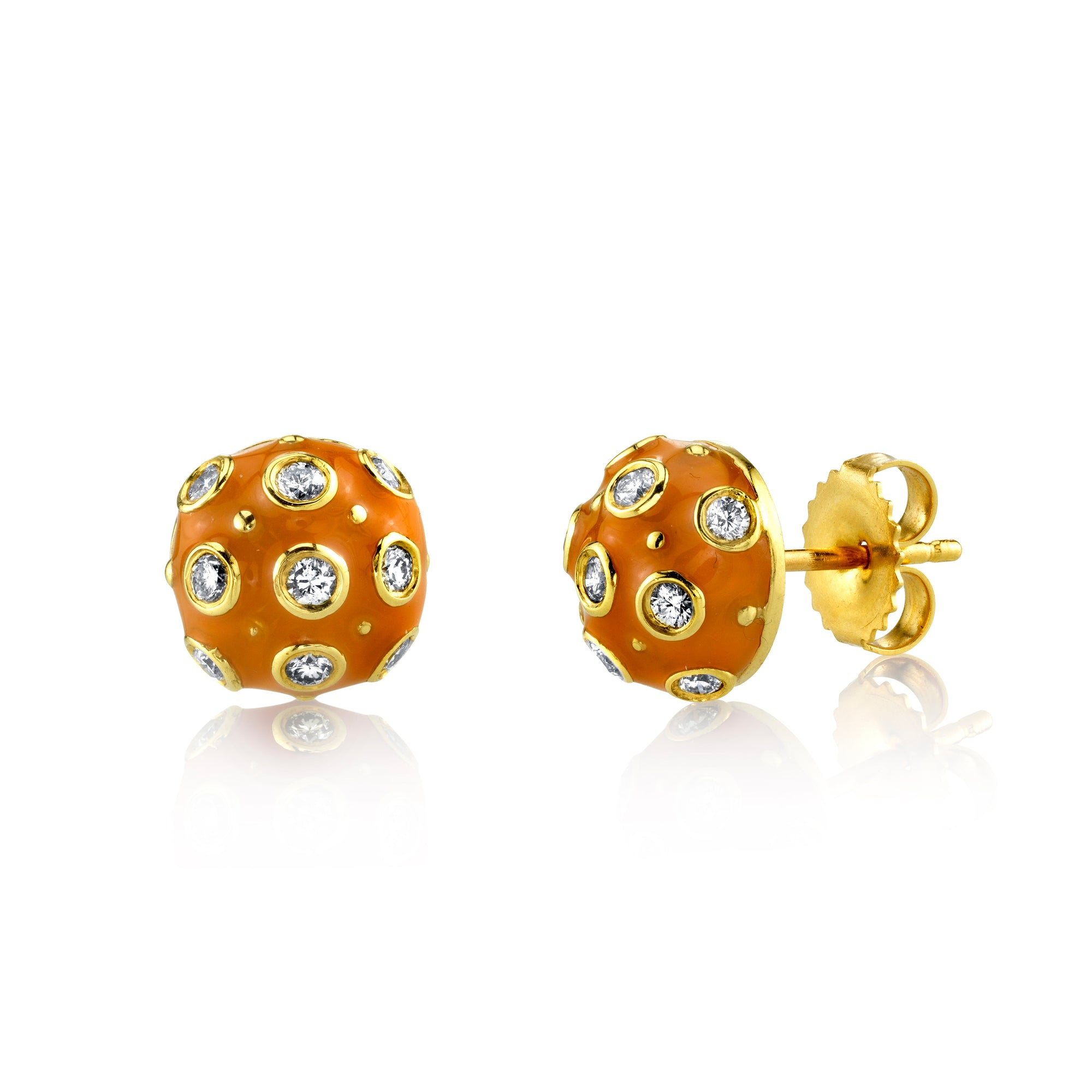 18k Yellow Gold, Orange Enamel and Diamond Stud Earrings by Lord Jewelry - Talisman Collection Fine Jewelers