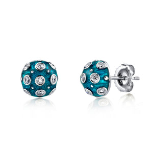 18k White Gold, Blue Enamel and Diamond Stud Earrings by Lord Jewelry