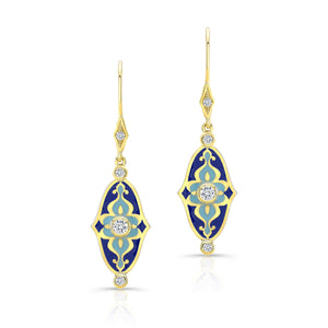 18k Yellow Gold and Blue Enamel Mosaic Earrings by Lord Jewelry - Talisman Collection Fine Jewelers