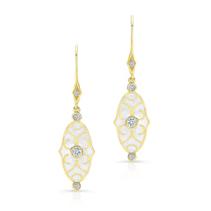 18k Yellow Gold and White Enamel Scroll Earrings by Lord Jewelry - Talisman Collection Fine Jewelers