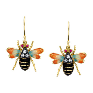 18k Yellow Gold and Enameled Bumble Bee Drop Earrings by Lord Jewelry