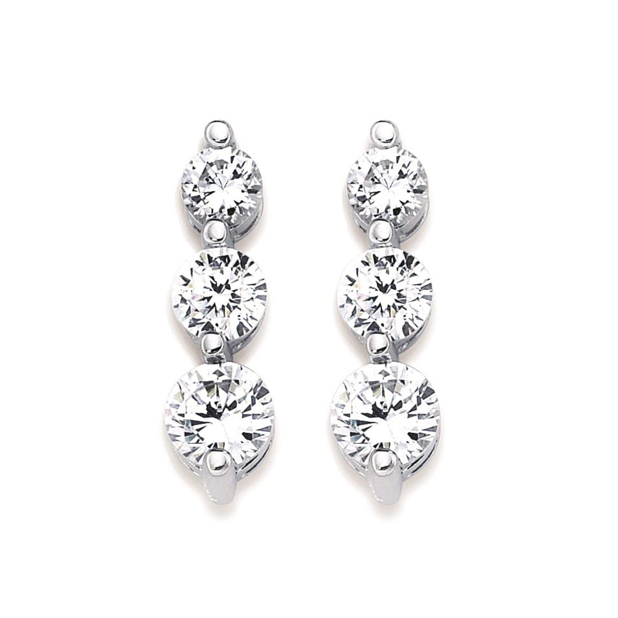 Three Diamond Drop Earrings in White, Yellow or Rose Gold - Talisman Collection Fine Jewelers
