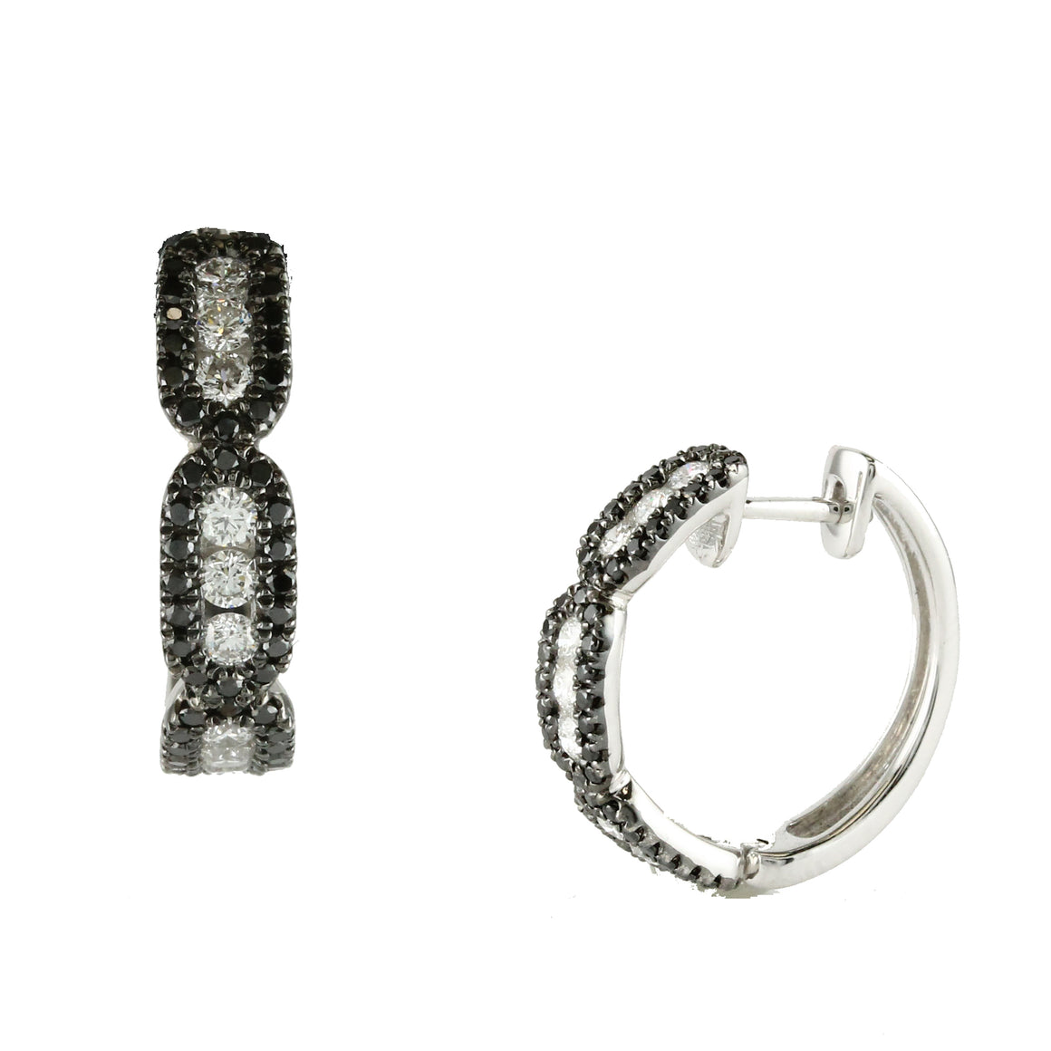 Black and White Diamond Hoop Earrings by Doves - Talisman Collection Fine Jewelers