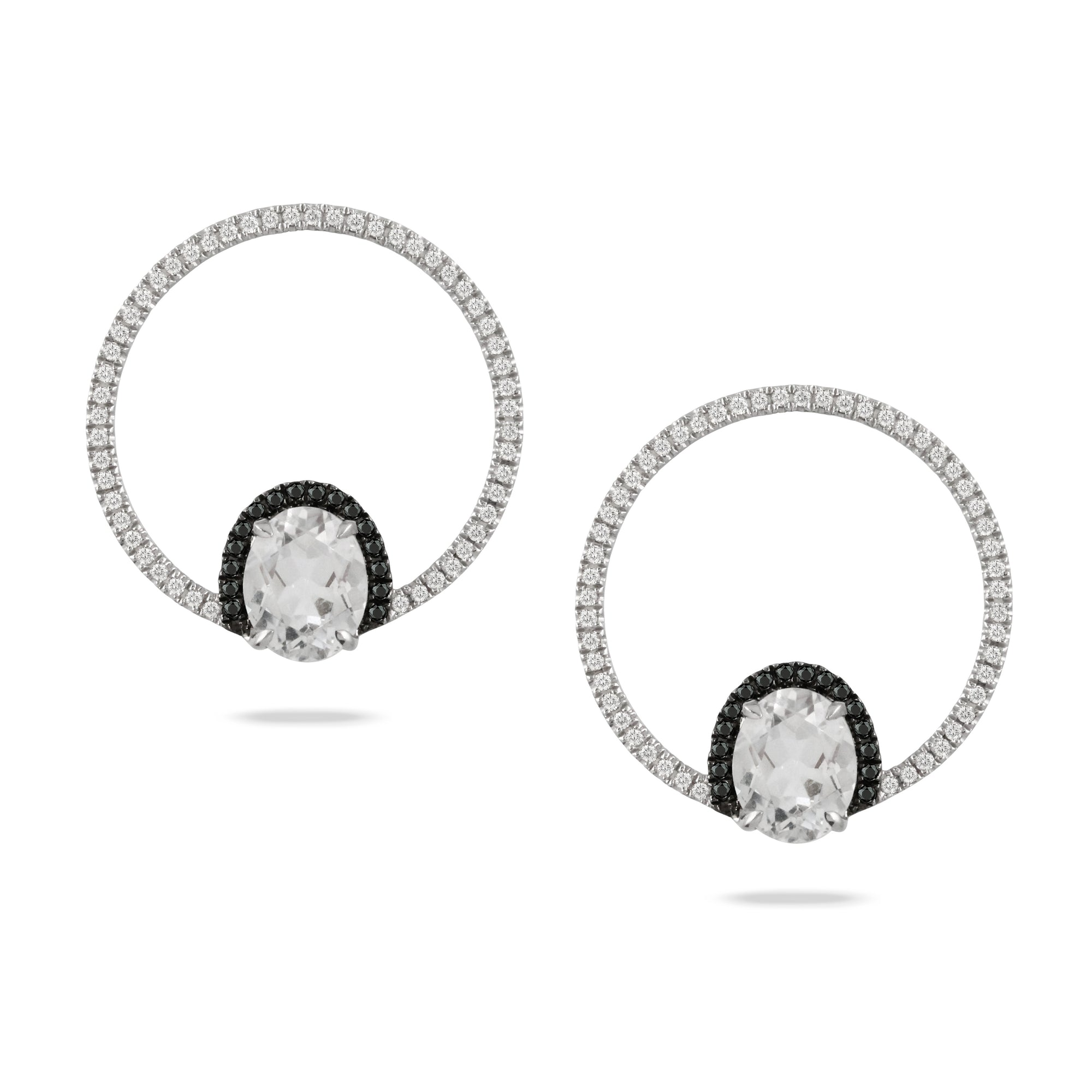 White Topaz and Diamond Mod Earrings by Doves - Talisman Collection Fine Jewelers