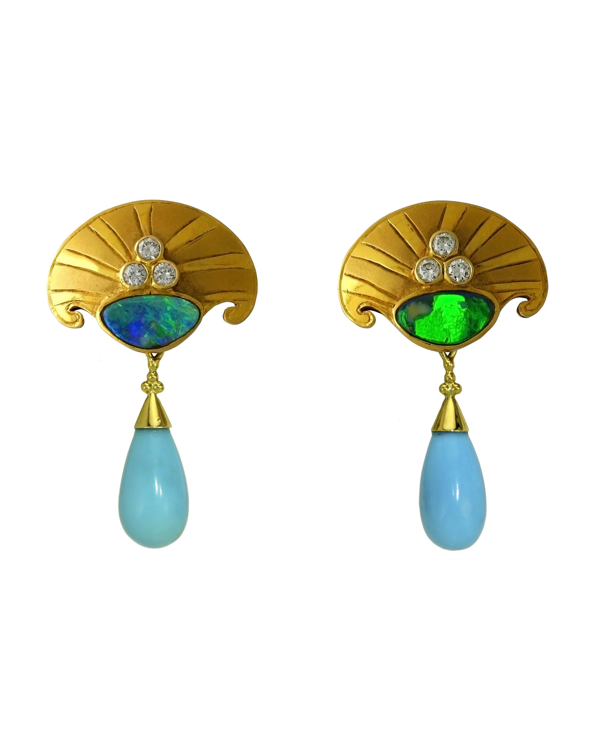 Crevoshay 18k Yellow Gold Boulder Opal Earrings with Sleeping Beauty Turquoise Drops