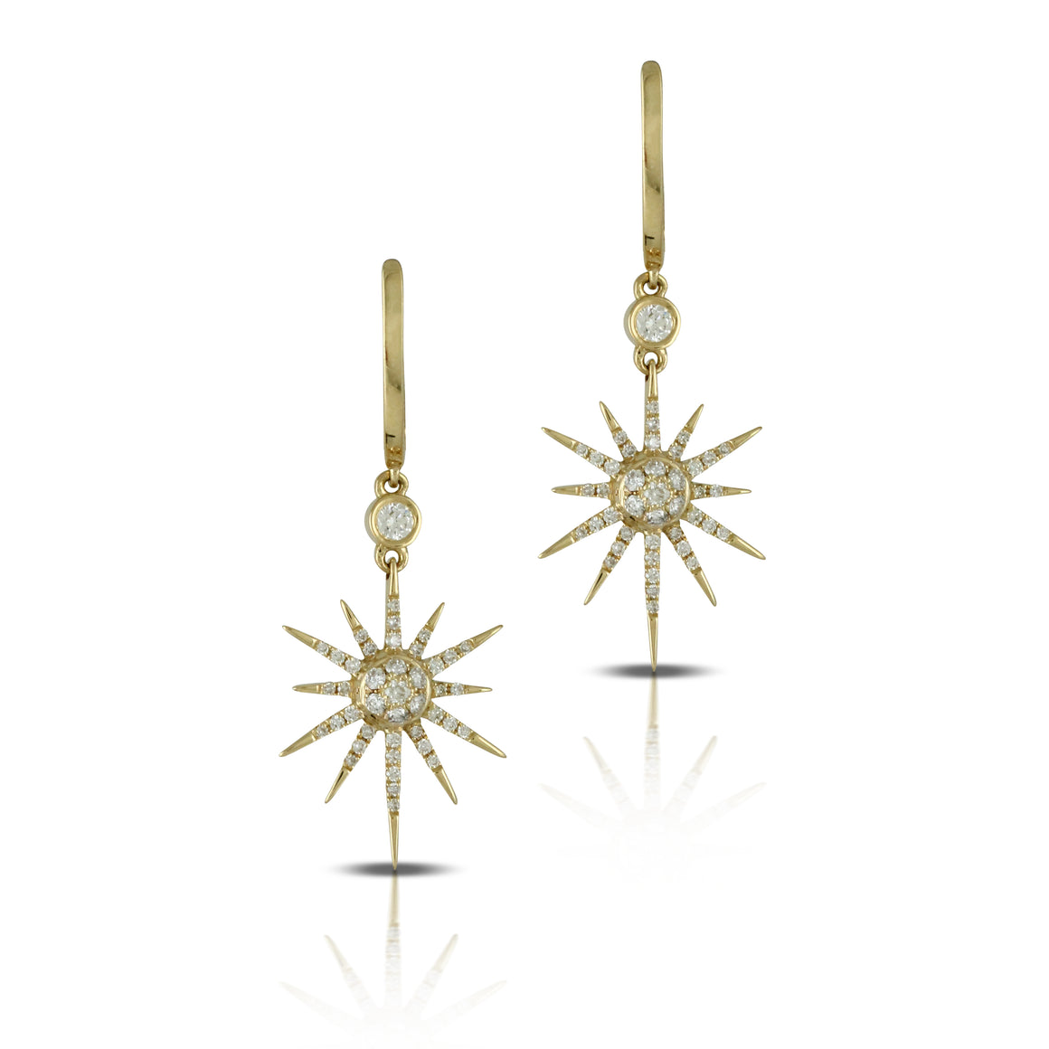 Doves 18k Yellow Gold Diamond Sunburst Earrings