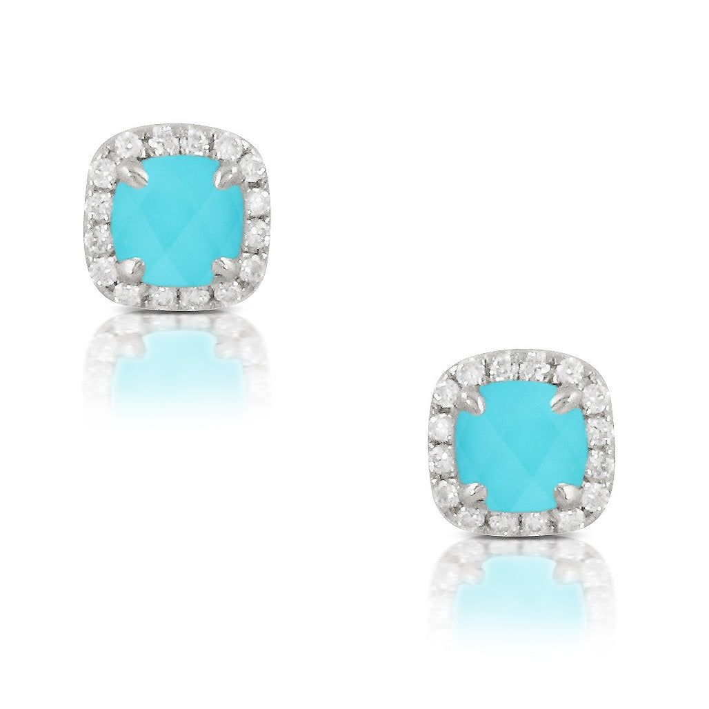 Turquoise and Diamond St. Barths Stud Earrings by Doves - Talisman Collection Fine Jewelers