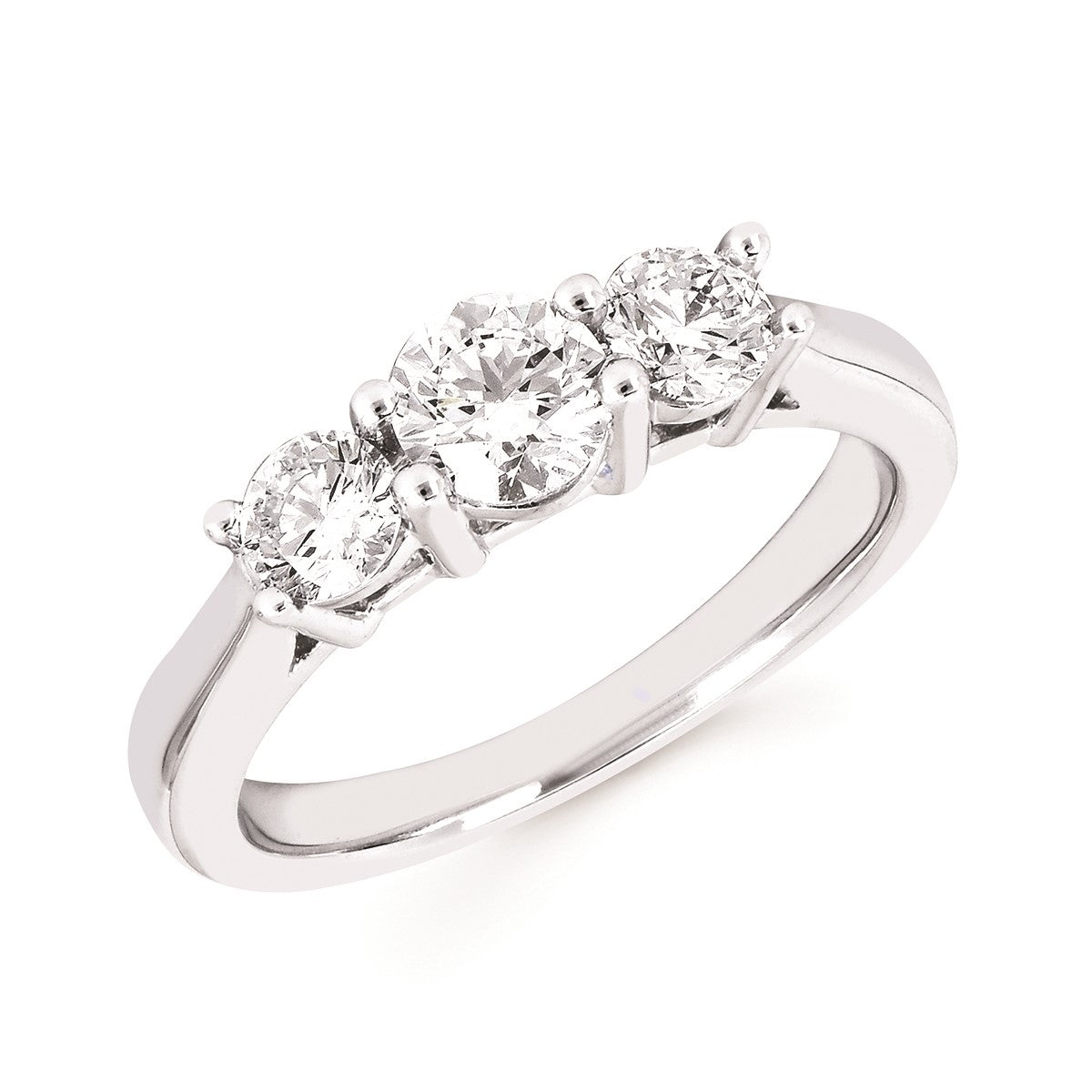 Diamond Lab Three-Stone Ring, 1.00 Total Carat Weight
