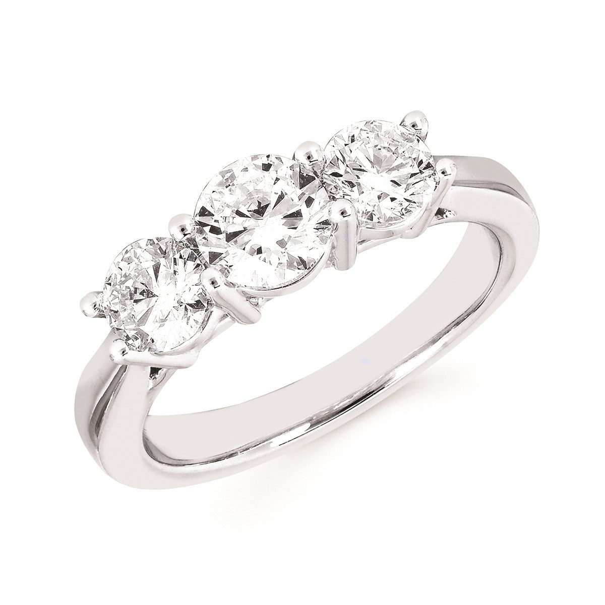 Diamond Lab Three-Stone Ring, 1.50 Total Carat Weight