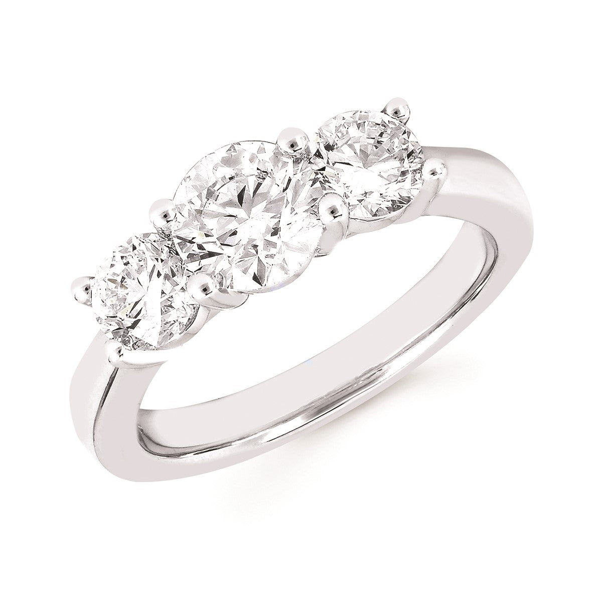 Diamond Lab Three-Stone Ring, 2.00 Total Carat Weight