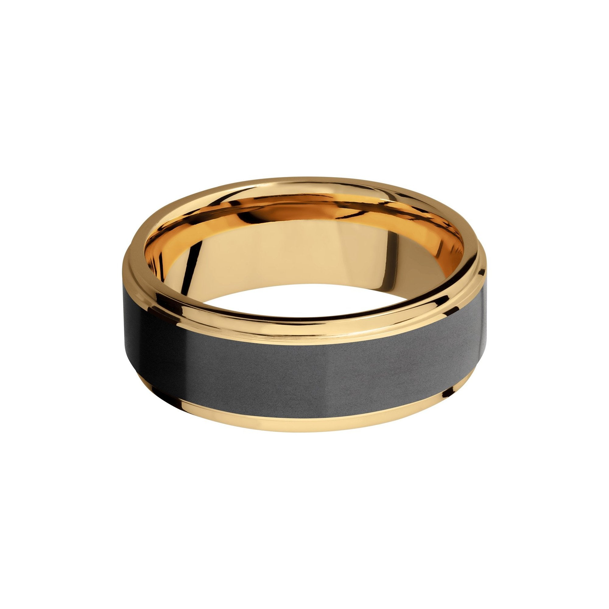 Ares 18k Yellow Gold Band with Elysium Black Diamond Inlay - Talisman Collection Fine Jewelers