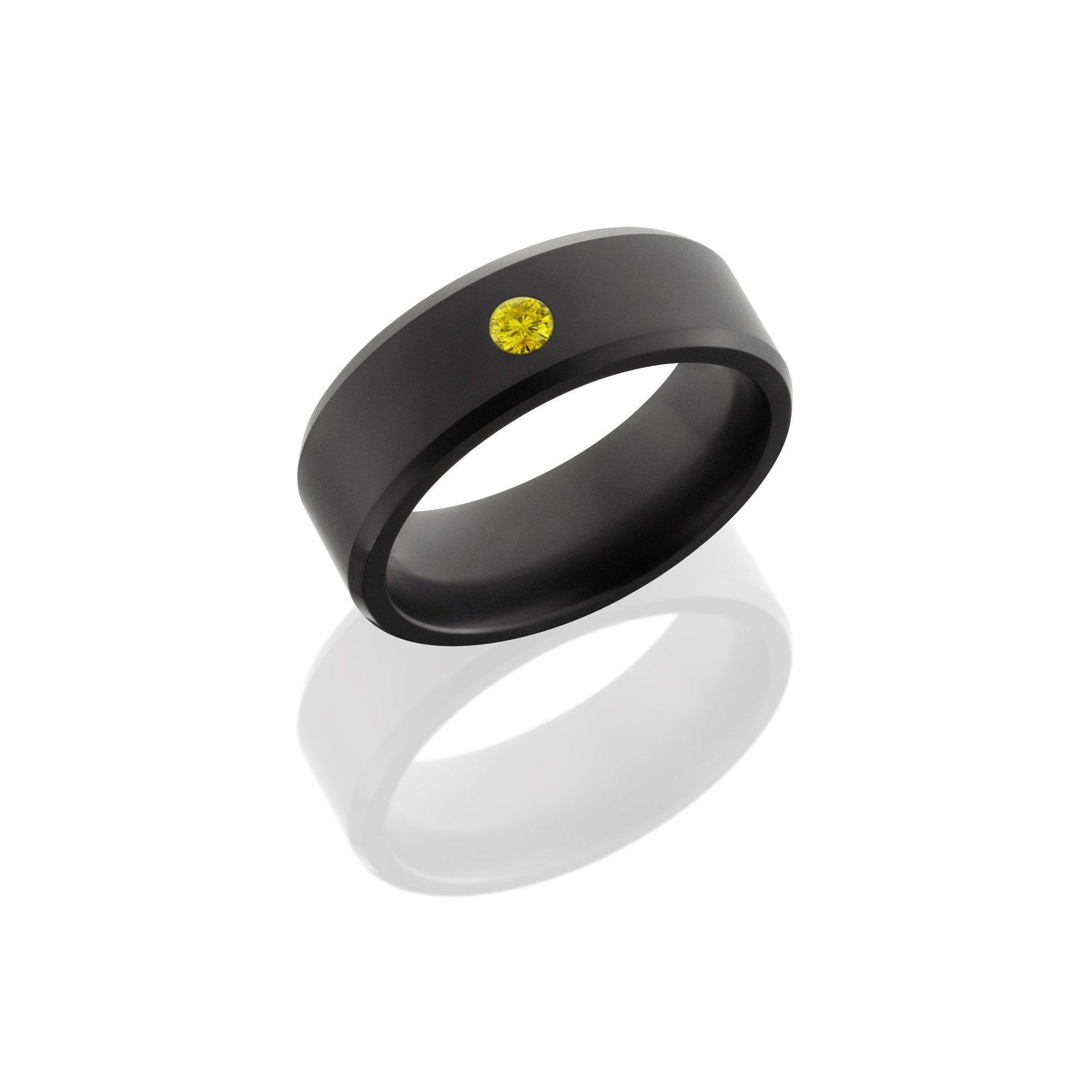 Matte Ares Band with Yellow Diamond Inset - Talisman Collection Fine Jewelers