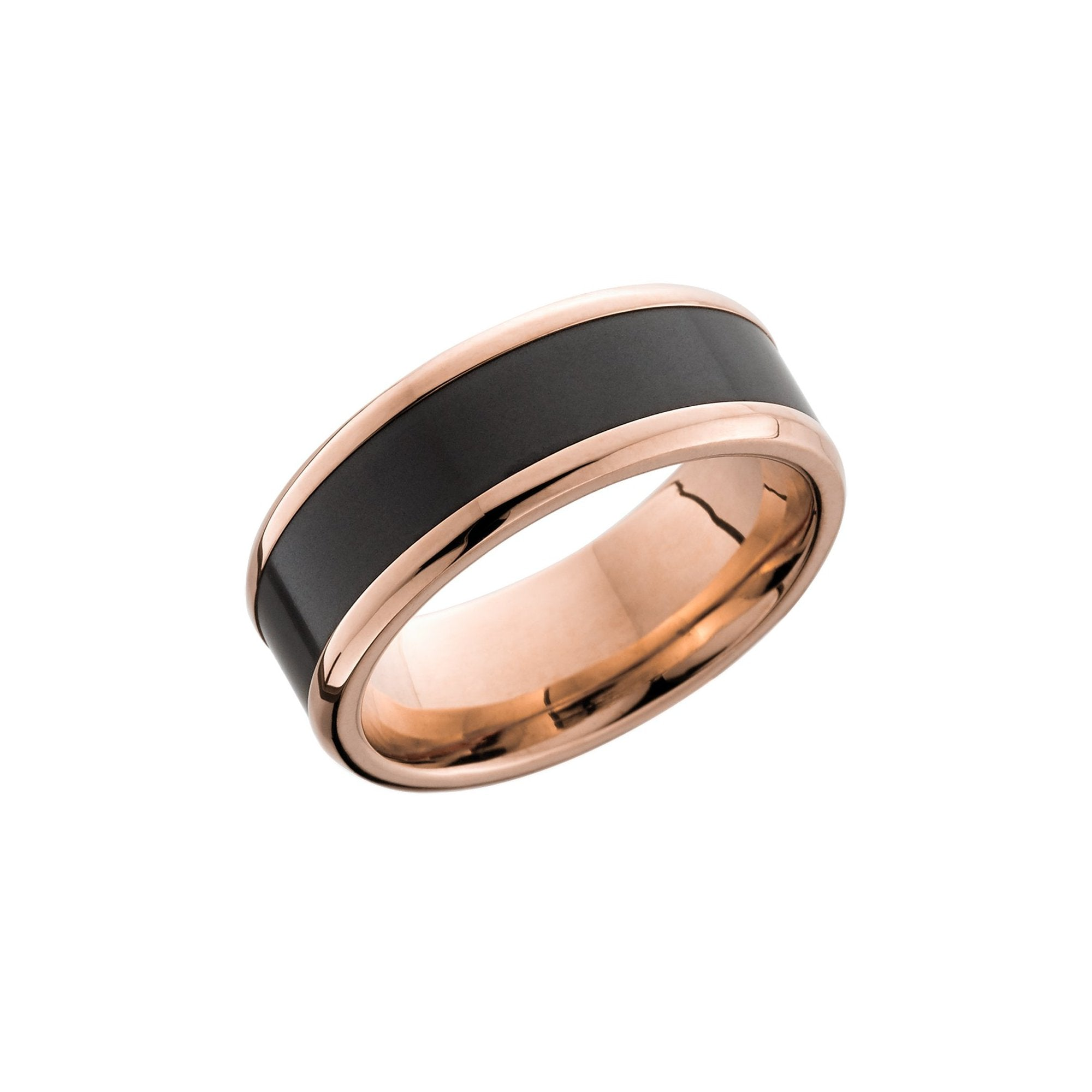 Ares 18k Rose Gold Band with Elysium Black Diamond Inlay - Talisman Collection Fine Jewelers
