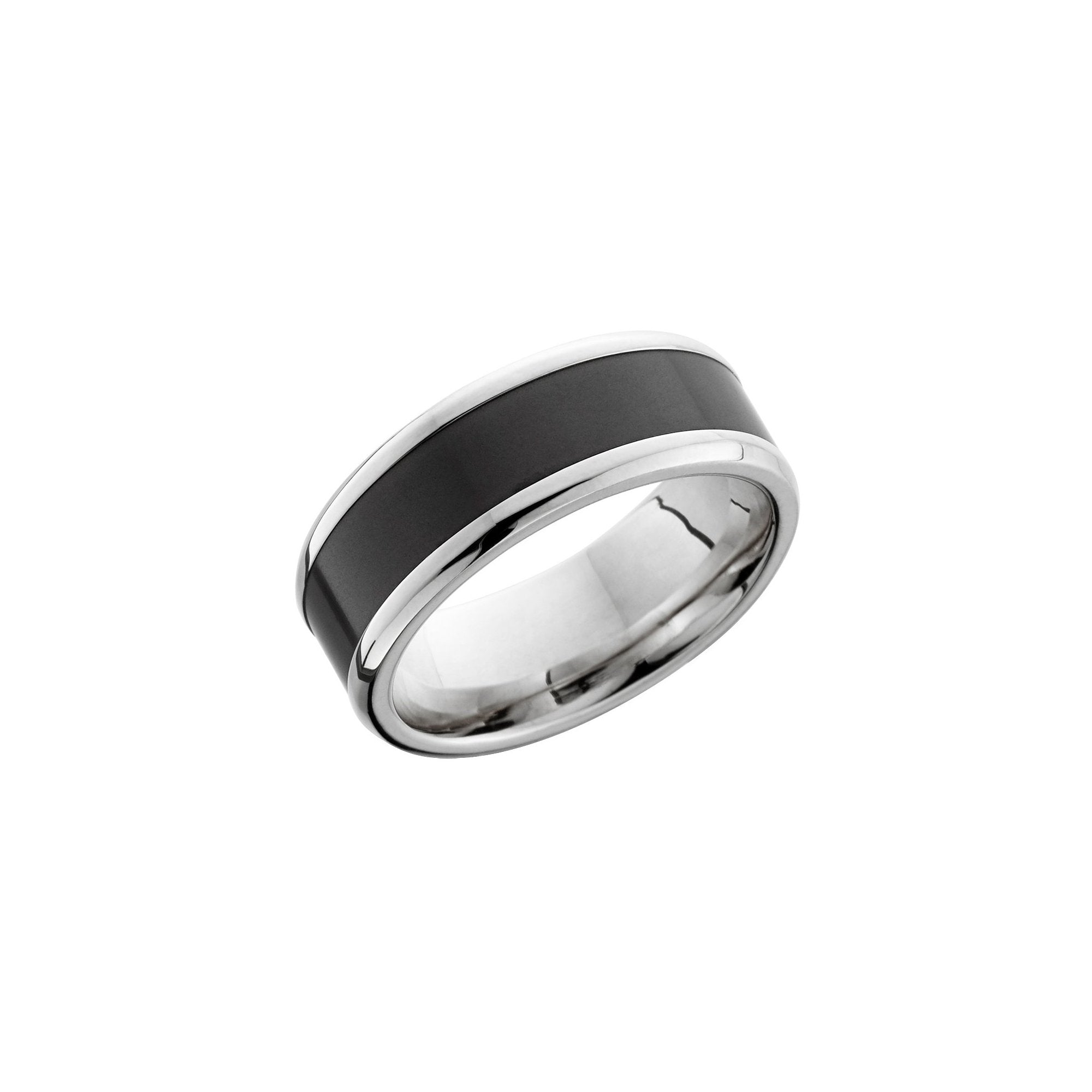 Ares 18k White Gold Band with Elysium Black Diamond Inlay - Talisman Collection Fine Jewelers