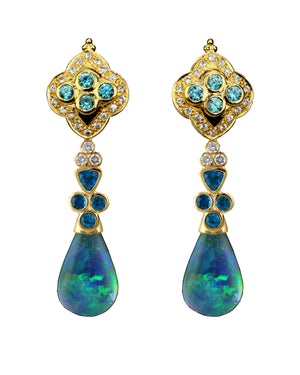 Crevoshay 18k Yellow Gold Earrings with Neon Apatite and Lightning Ridge Opal Drops