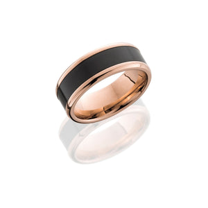Kratos 18k Rose Gold Band with Elysium Black Diamond Inlay - Talisman Collection Fine Jewelers