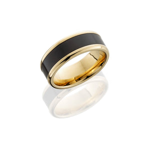 Kratos 18k Yellow Gold Band with Elysium Black Diamond Inlay - Talisman Collection Fine Jewelers