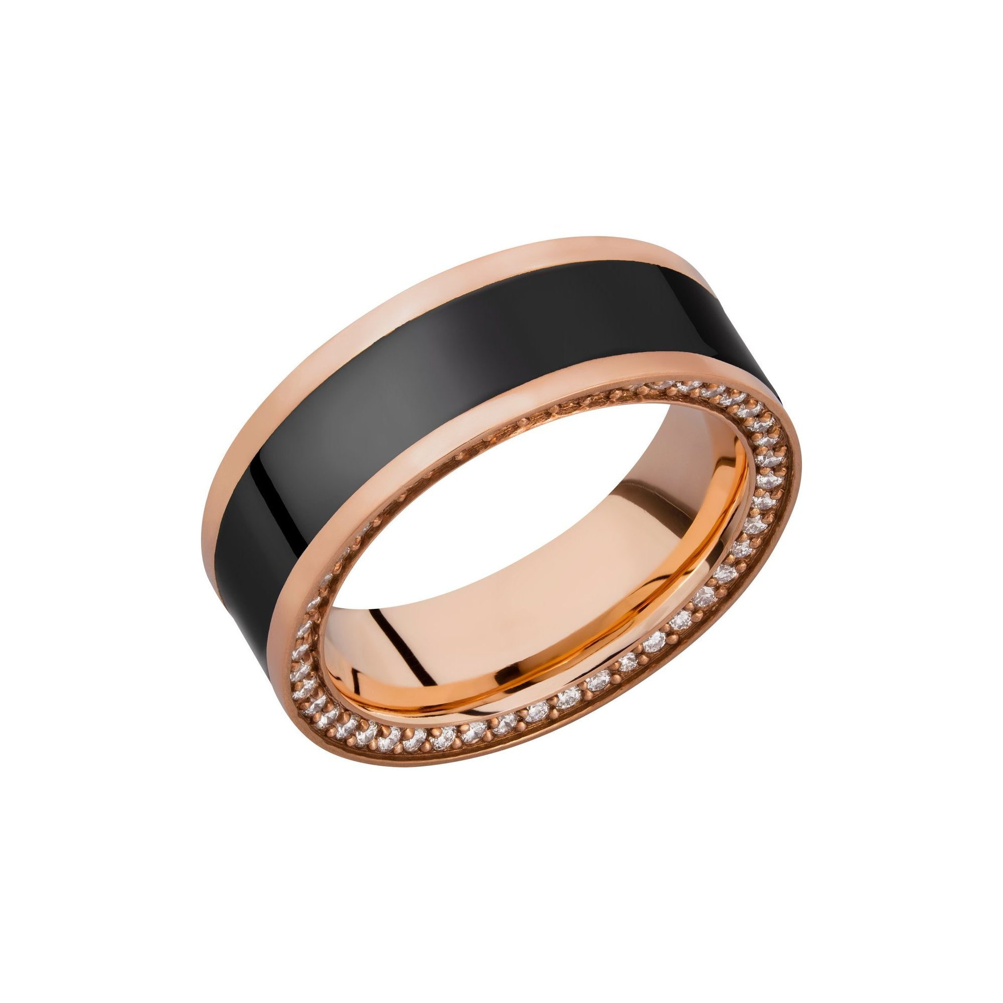Zeus 18k Rose Gold Band with Elysium Black Diamond Inlay and a Reverse Diamond Bevel - Talisman Collection Fine Jewelers