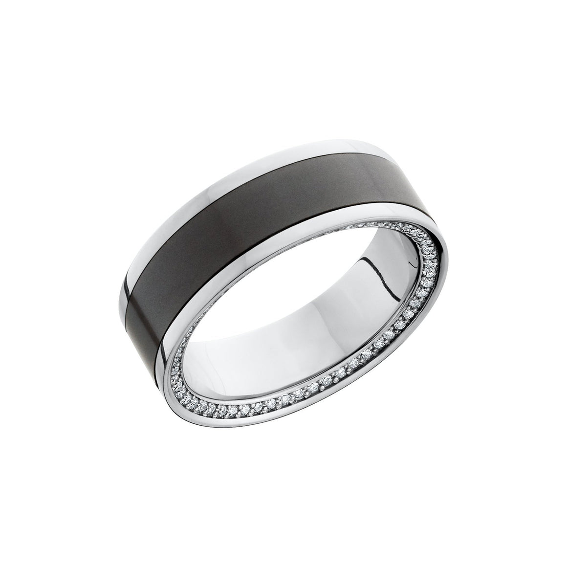 Zeus Platinum Band with Elysium Black Diamond Inlay and a Reverse Diamond Bevel - Talisman Collection Fine Jewelers