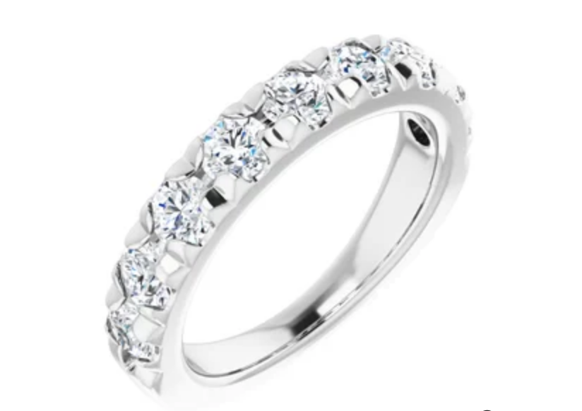 2 carat total weight diamond 14k white gold anniversary band French prongs - Talisman Collection Fine Jewelers