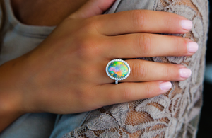 Opal, Diamond, Platinum Ring - Talisman Collection Fine Jewelers