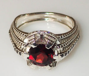 "Black Diamond and Garnet ""Stairway"" Ring - Talisman Collection"