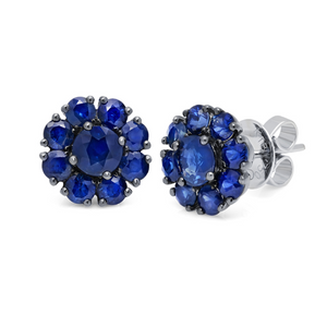 Blue Sapphire Cluster Stud Earrings by Graziela