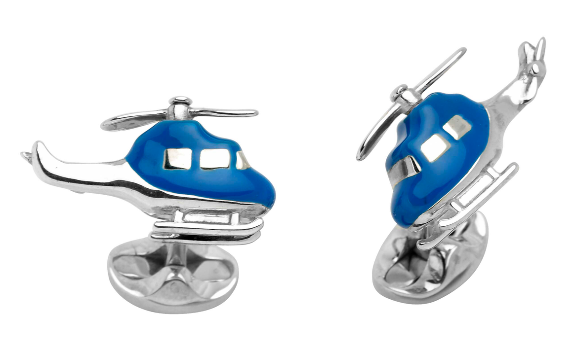 Blue Helicopter Cufflinks by Deakin & Francis - Talisman Collection Fine Jewelers