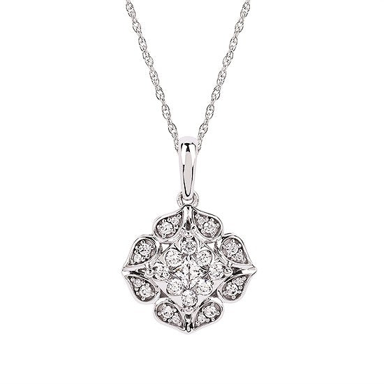 Diamond Flower Necklace - White Gold - Talisman Collection Fine Jewelers