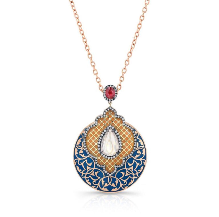 18k Yellow Gold Moonstone and Ruby Enamel Pendant by Lord Jewelry - Talisman Collection Fine Jewelers