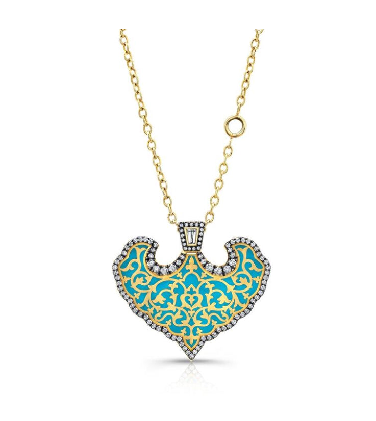 18k Yellow Gold Royal Dreams Enamel Pendant by Lord Jewelry - Talisman Collection Fine Jewelers