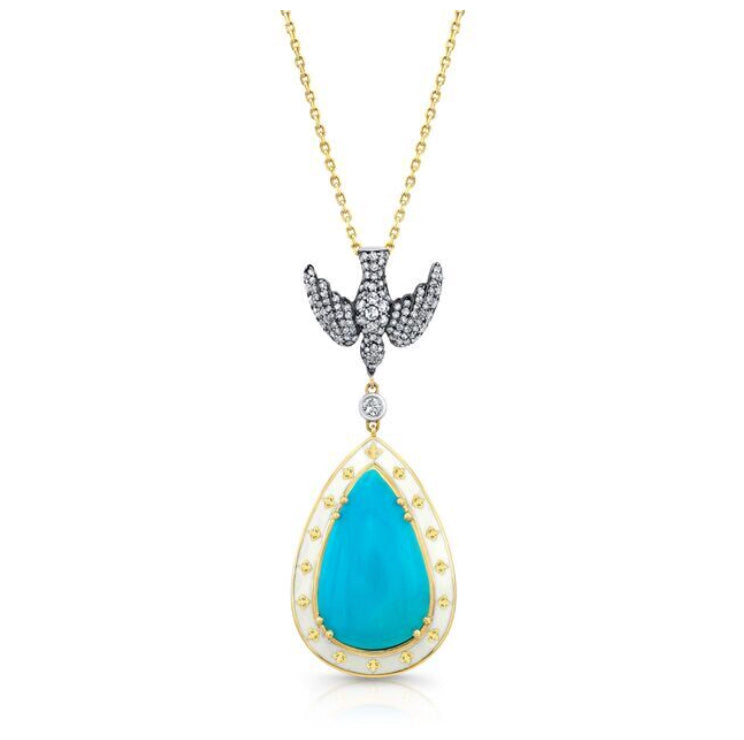 18k Yellow Gold Turquoise and Diamond Pendant by Lord Jewelry - Talisman Collection Fine Jewelers