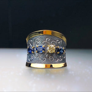 Rhapsody Blue Sapphire and Diamond Ring by Margisa - Talisman Collection Fine Jewelers