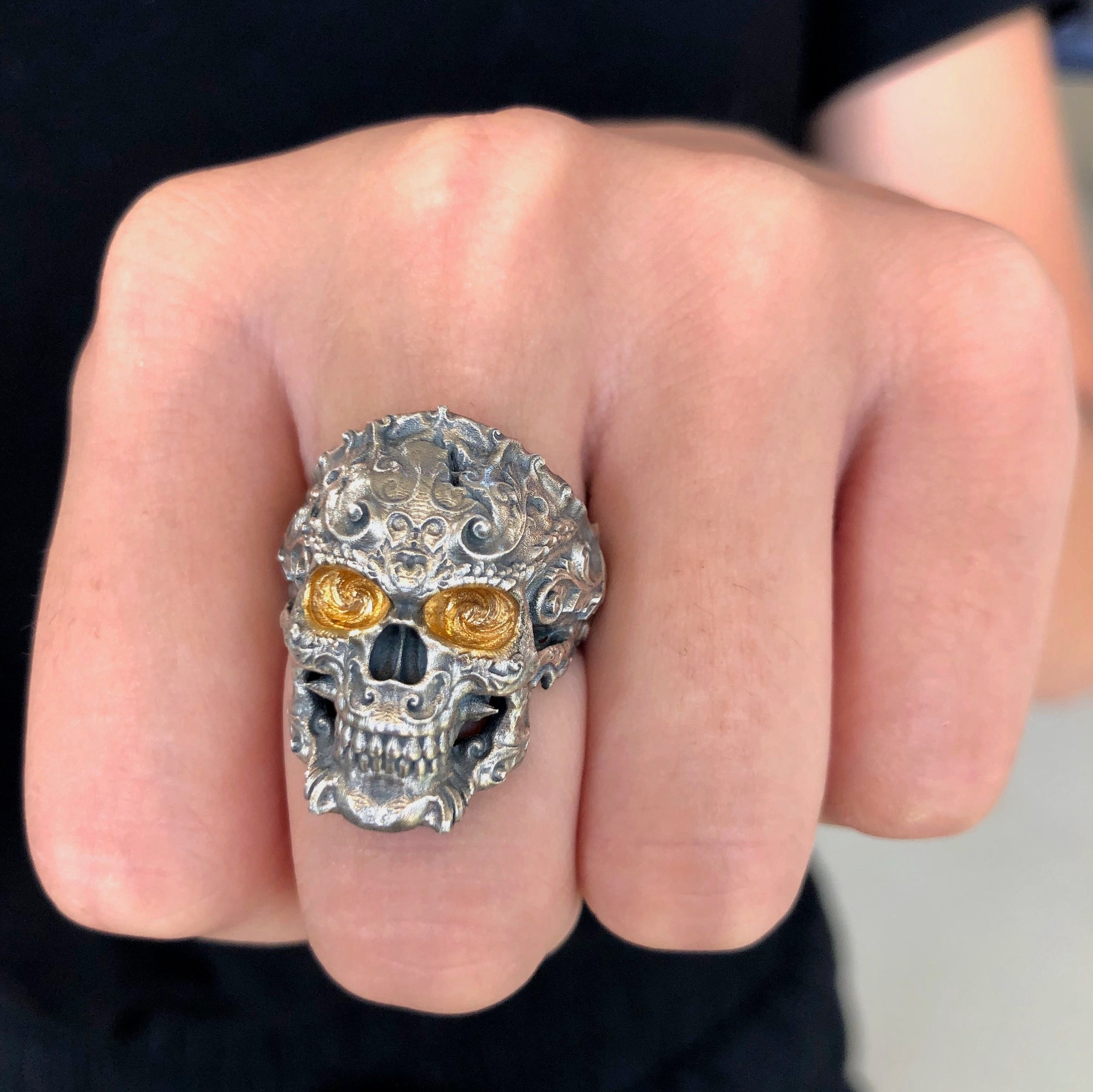 Skull 3D Sterling Silver and Yellow Gold Ring by Geoff Thomas - Talisman Collection Fine Jewelers