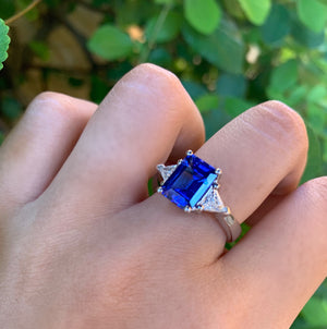 Emerald-Cut Tanzanite and Trillion Diamond Ring - Talisman Collection Fine Jewelers